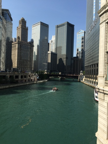 View from DuSable Bridge of the Chicago River on Michigan Avenue in Chicago.