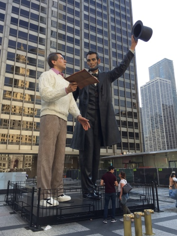 """Abraham Lincoln explaining the Gettysburg Address to the """"common man."""""""